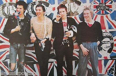 """SEX PISTOLS """"GROUP BY UNION JACK BACKGROUND"""" POSTER FROM ASIA - Punk Rock Music"""