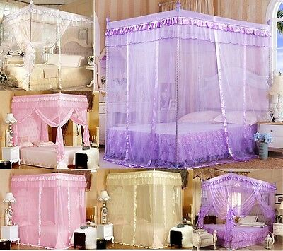 Gift ! Luxury Lace Four Corner Post Bed Canopy Mosquito Netting Or Frame(Post)