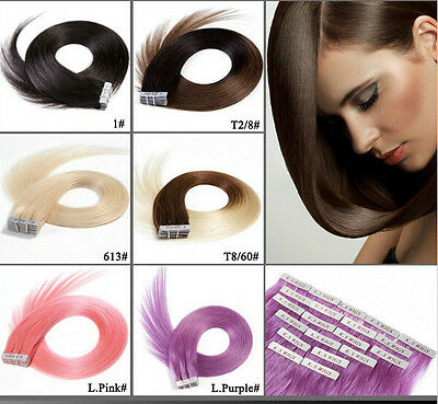 20 pcs 40g 20 Colors 18 Inch TAPE IN Hair Extensions 100% Human Remy Hair
