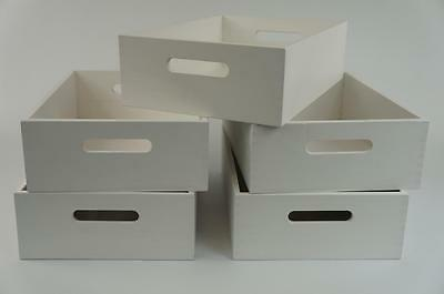 5 x Wooden Laquered Crates White Decoupage Tray With Handles Storage (SRD WHITE)