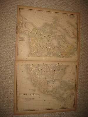 Large Antique 1890 North America 2 Sheet Map United States Texas British Canada