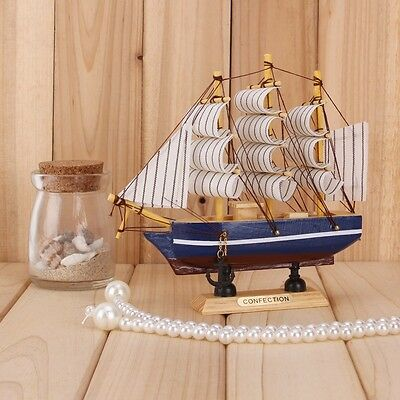 Collectable Wooden Model ship Nautical Gift Sailboat Cruiser Home Ornaments #12