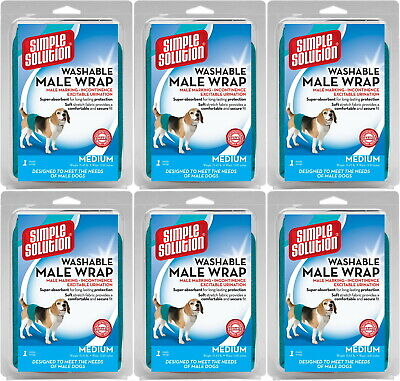 Simple Solution Male Wrap for Dogs, Washable, Medium, 6 Pack