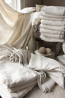 Vintage Sheets French slipcover material 14 upholstery fabric linen old antique