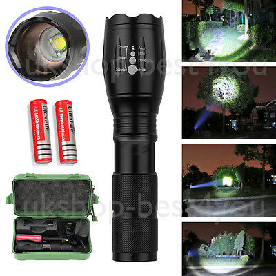 UK Camping CREE XM-L T6 LED Zoomable Flashlight Torch Lamp + 2*18650 Battery