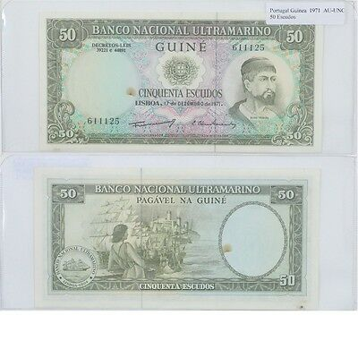 1971 50 Escudos banknote from Guinea in AU-UNC Condition.