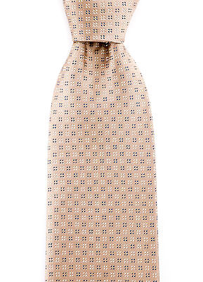 "New SANTOSTEFANO Italy Handmade Taupe Blue White Woven Silk 3.25"" Neck Tie $195!"