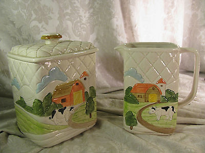 Vintage Otagiri Japan Quilted Farm 1982 Ceramic Canister and Pitcher