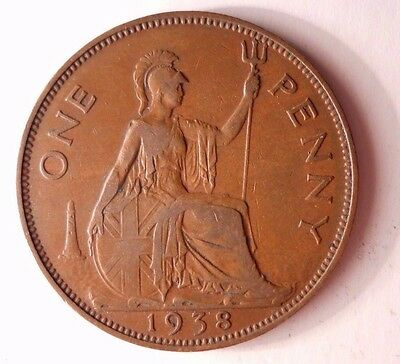 1938 GREAT BRITAIN PENNY - Excellent Vintage Coin - BARGAIN BIN #78