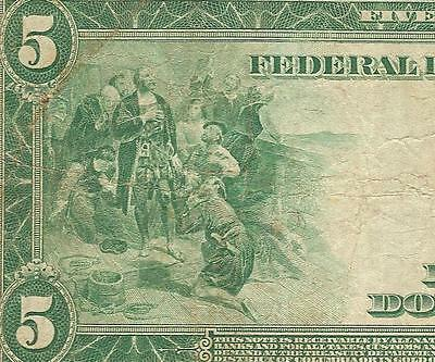 LARGE 1914 $5 DOLLAR BILL BOSTON FED NOTE BIG CURRENCY OLD PAPER MONEY Fr 845