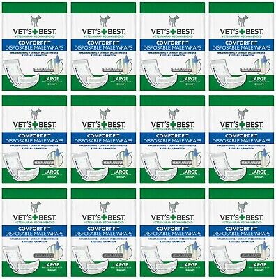 Vet's Best Comfort-Fit Disposable Male Wraps Large 144ct (12x12ct)