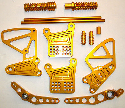 Nex Rearset Foot Pegs Adjustable Shifter For 2004-2006 Yamaha R1 Anodized Gold