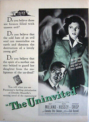 1944 Wwii Paramount Movie:  The Uninvited - Ruth Hussey - Unseen Evil Print Ad!
