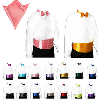 Mens Wedding Italian Satin Tuxedo Bow tie Cummerbund Hanky set 30 Colors