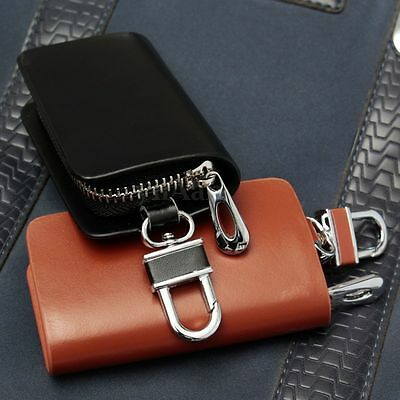 Luxry Genuine Cattle Hide Leather Car Remote Key Holder Bag Cover Case Wallet
