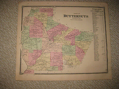 Antique 1868 Butternuts Otsego County New York Handcolored Map Superb Rare Nr