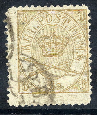 DENMARK 1865  Royal Insignia 8 sk. perforated 12½, used