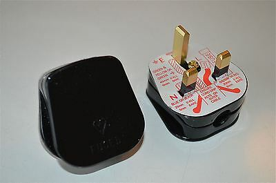 Pair Retro Style 13 Amp Black 3 Pin Electrical Plug Fuse Fitted Lamp Light Cb23
