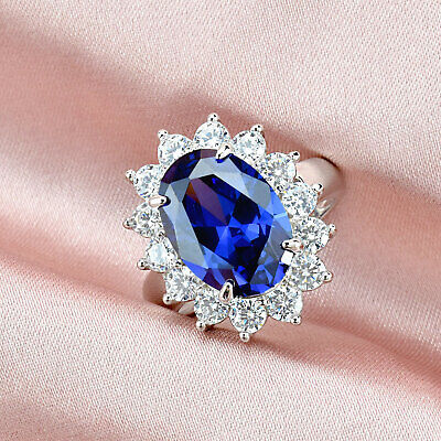 6.42 Ct Blue Tanzanite White Topaz 925 Sterling Silver Gemstone Ring Size 5-12