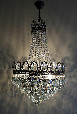 Medium Size Antique French Basket Style Brass & Crystals Chandelier Ceiling Lamp