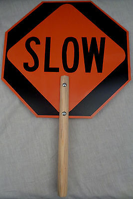 "STOP/SLOW Traffic Flagman/Crossing Guard Hand Held Paddle 14"" Aluminum Sign new!"