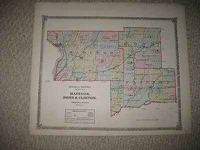 Mint Antique 1875 Madison Bond Clinton County Illinois Railroad Handcolored Map
