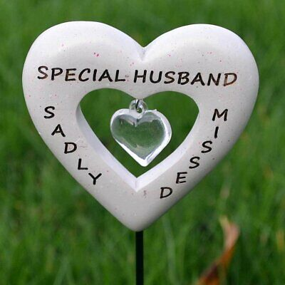 Sadly Missed Special Husband Love Heart Memorial Tribute Stick Graveside Plaque