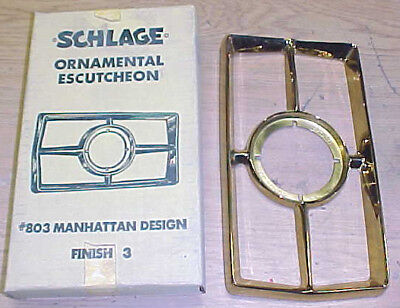 VINTAGE Schlage MANHATTEN DOOR ESCUTCHEON BRASS 803