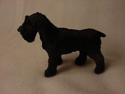SCHNAUZER Dog HAND PAINTED FIGURINE Resin Statue BLACK UNCROPPED Pup COLLECTIBLE