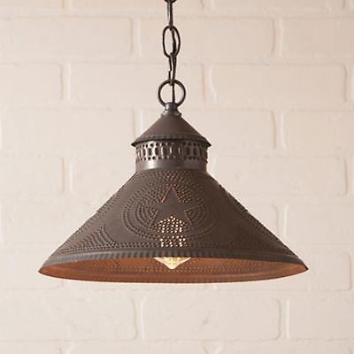 primitive new STOCKBRIDGE blacken tin punched STAR hang ceiling light / nice