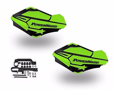 PowerMadd Sentinel Handguard Hand Guards Kit Black Green Snow Mobile Snowmobile
