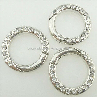 17668 4PCS Rhinestone Clasp Ring Connector for Punk Bracelet Necklace Making