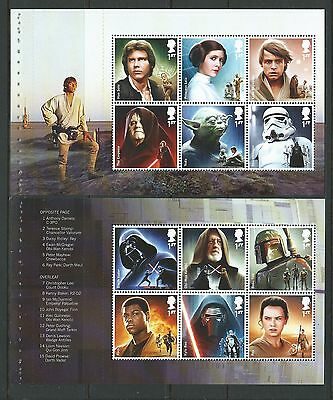 Great Britain 2015 Star Wars Set Of 12 In Two Panes Unmounted Mint,carry Fisher