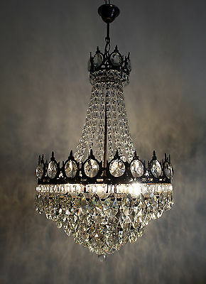 Vintage / Antique French Basket Style Brass &  Crystals  Chandelier Ceiling Lamp