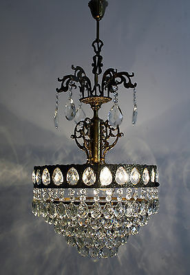 Vintage --- Antique French Basket Style Brass & Crystals Chandelier Ceiling Lamp