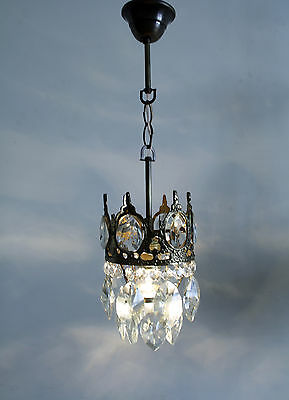 Mini +++Antique French Basket Style Brass &  Crystals  Chandelier Ceiling Lamp