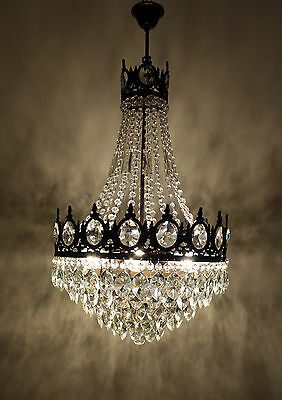 Antique Vintage French Basket Style Brass Crystals HUGE Chandelier Ceiling Lamp