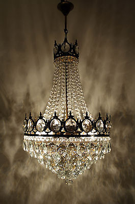 Antique French Basket Style Brass &  Crystals HUGE 6 stepped Chandelier 1940's