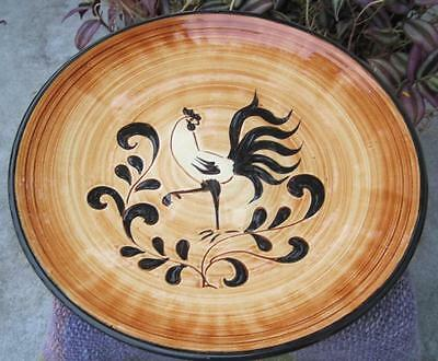 """Pennsbury Pottery Black Rooster Hand Painted 11"""" Charger"""