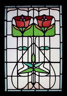 Stunning English Antique Art Nouveau Floral Stained Glass Window