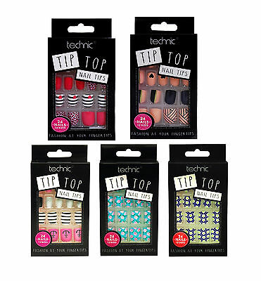 Technic Tip Top Nail Tips 24 False Fake Nails Choice Of 5 Design Sailor Flower