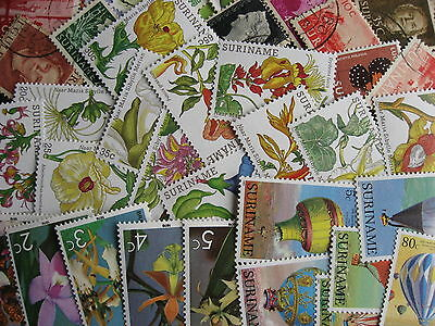 Collection breakdown! SURINAME 40 different stamps,some mixed condition