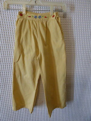 50s-60s Girls yellow cotton twill pants w/waist embroidiery 19-24 waist as is