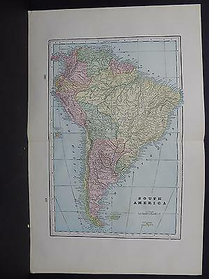Map, South America, 1899 George F. Cram Double Sided W18#61