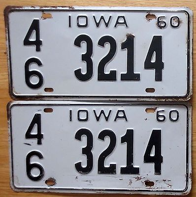 1960 Iowa License Plate Number Tag PAIR Plates