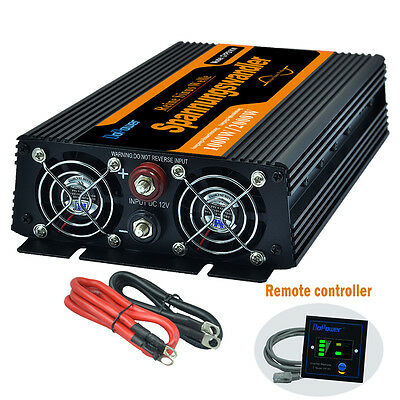 1000W/2000W Power Inverter DC 12V  AC 230V 240V Pure Sine Wave Remote Controller