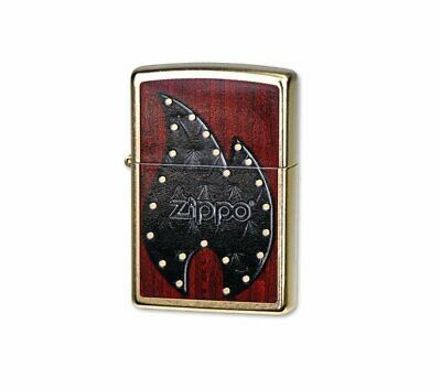 Zippo Leather Flame On Wood Lighter, Gold Dust, Riveted, Windproof #28832