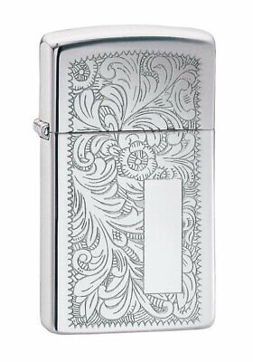 Zippo Venetian Lighter, High Polish Chrome, Slim, Genuine Windproof #1652