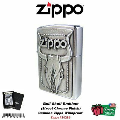 Zippo Bull Skull Emblem Lighter, Genuine Windproof Street Chrome #20286