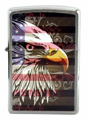 Zippo Eagle and Flag Lighter, Brushed Chrome, Windproof #28652
